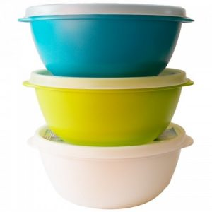 Set posuda za hranu s poklopcem od bioplastike -1L – bijela, zelena i tirkizna