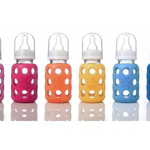 Lifefactory staklena bočica za bebe s dudicom veličine 1 (za 0-3 mjeseca) – boja roza – 120ml