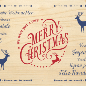 Čestitka od drveta MERRY CHRISTMAS