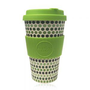 Ecoffee šalica za kavu/čaj – GREEN POLKA 400ml