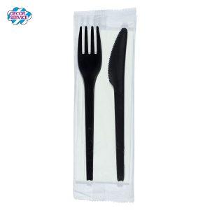 BIO Set – Vilica i Nož sa salvetom, Crna ca 17cm, pakiranje 50 komada