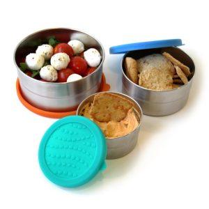ECOlunchbox Blue Water Bento – set od tri okrugle posude sa silikonskim poklopcima