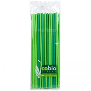 BIO slamčica, pregibna , zelena, Ø5mm, 24 cm, 40 kom
