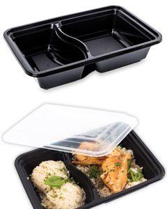 Posude za jelo, crne, dvodjelni, 22x15x6,5cm