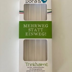 Doras Set – 4 staklene slamke + četkica za čišćenje