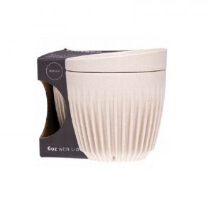 HUSKEE CUP Šalica s poklopcem 175ml, Bež, Crna