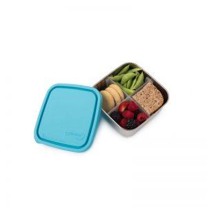 Srednja posuda za hranu s pregradom – svjetlo plavi poklopac