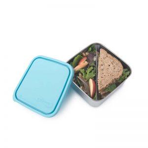Velika posuda za hranu s pregradom – svjetlo plavi poklopac