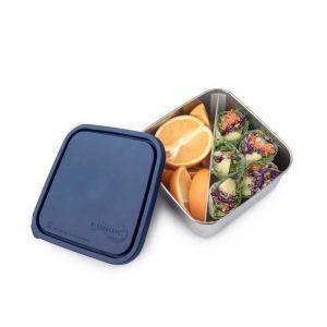 Velika posuda za hranu s pregradom – tamno plavi poklopac