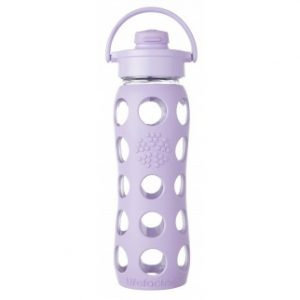 Lifefactory staklena boca sa silikonskom zaštitom i FLIP TOP čepom – lila