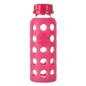 Lifefactory 250ml staklena boca s običnim čepom, raspberry