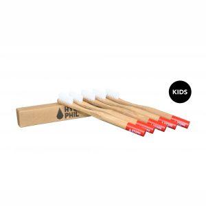 Četkica za zube od bambusa – crvena (4 komada u paketu)