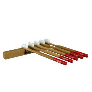 Četkica od bambusa za odrasle -crvena